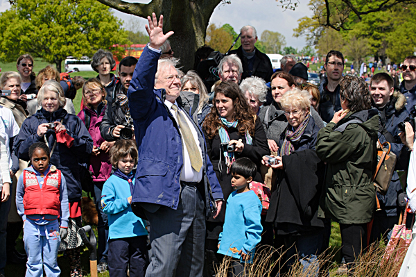 Sir David Attenborough at the launch of Jubilee Pond.