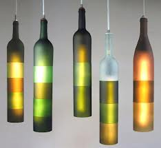 Lamps made of wine bottles