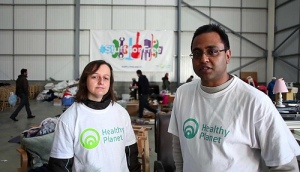 A volunteer with Healthy Planet founder Shaylesh Patel